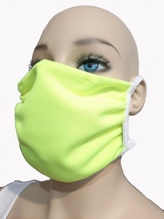 Mund-Nase-Maske von WONNEBERGER MANUFAKTUR, neongelb, 100% Polyester (Coolmax© )