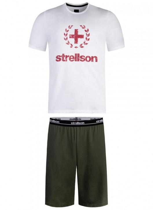 STRELLSON 521155 Pyjama weiß/olive (100% Baumwolle)