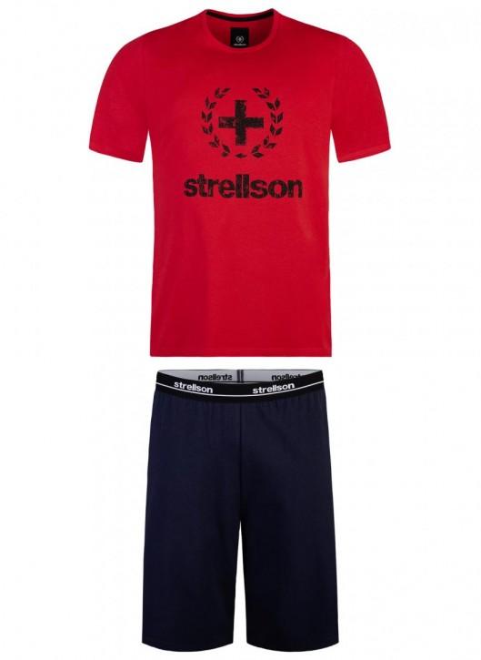 STRELLSON 521155 Pyjama rot/navy (100% Baumwolle)