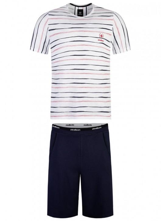 STRELLSON 521157 Pyjama weiß/navy (100% Baumwolle)
