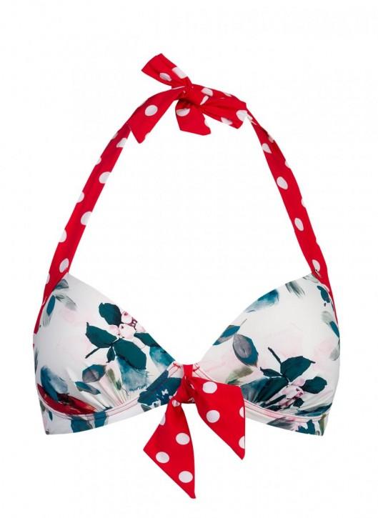 SHORT STORIES 650333 Bikini Neckholder Top rouge/Blumen (73% Polyamid, 27% Elasthan)
