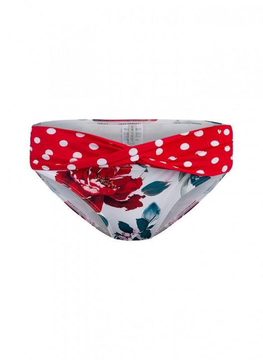 SHORT STORIES 650335 Bikini Slip rouge/Blumen (73% Polyamid, 27% Elasthan)