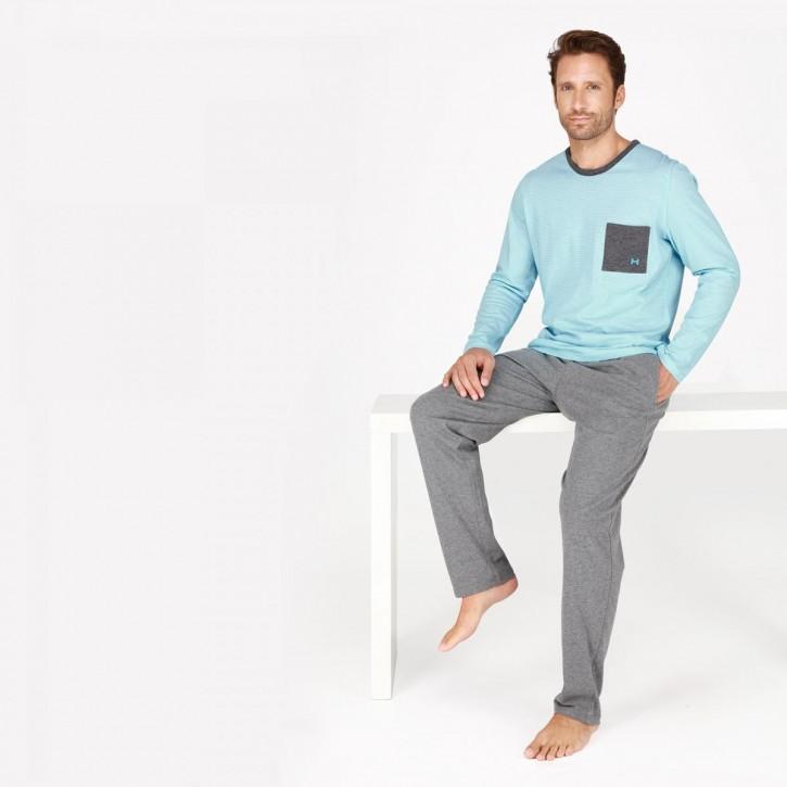HOM Captain Pyjama türkis (100% Baumwolle)