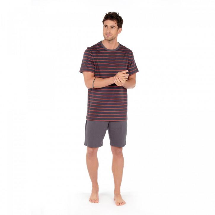 HOM Croisette Short Pyjama grey/orange stripes (100% Baumwolle)