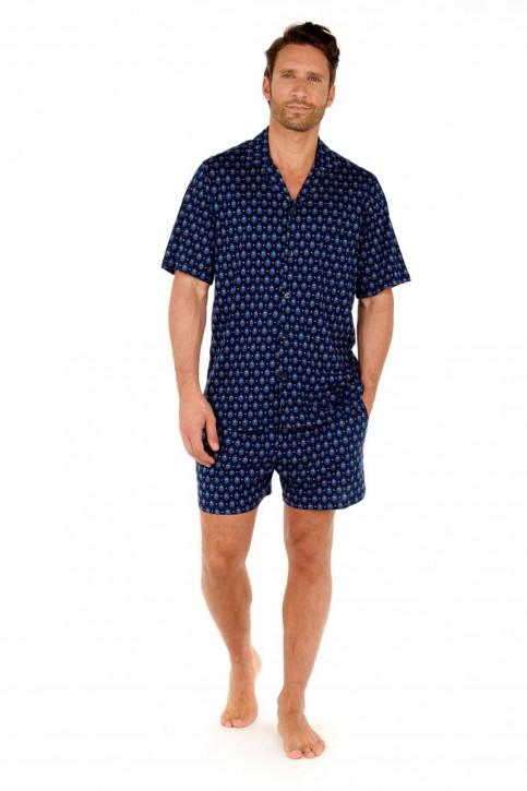 HOM Frioul Short Pyjama navy print (100% Baumwolle)