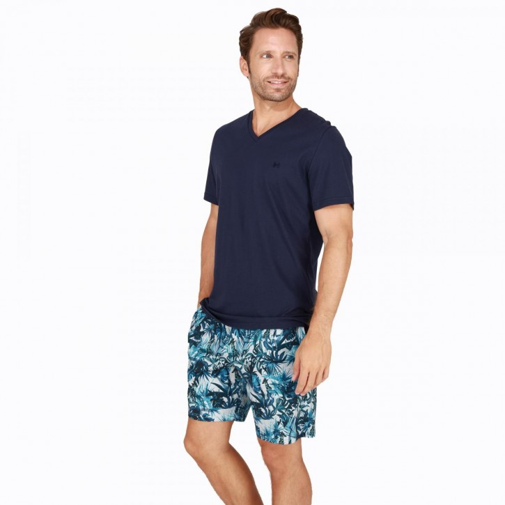 HOM Safari Pyjama navy (100% Baumwolle)