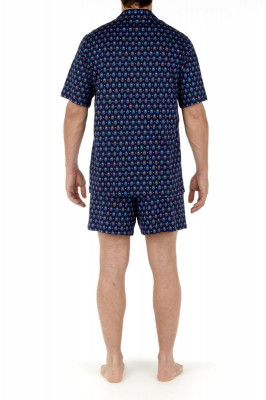 HOM Frioul Short Pyjama navy print (100% Baumwolle) L