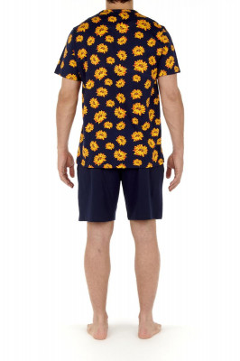HOM Luberon Short Pyjama navy print (100% Baumwolle) L